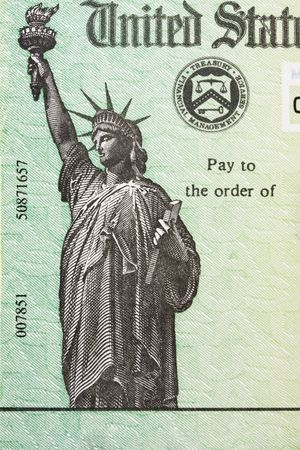 federal tax return: Close up of part of a tax refund cheque