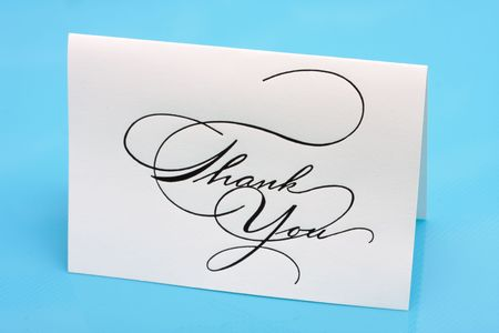 Thank you card on a blue background Stock Photo - 3343243