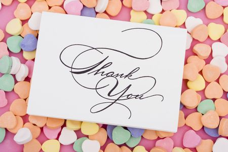 greet card: Thank you card on candy heart  Stock Photo