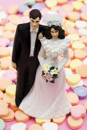 topper: Wedding cake topper on a candy hearts