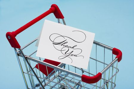 Shopping Cart with a thank you card photo