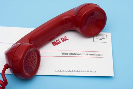 collect: Telephone with overdue bill – call for help with your finances Stock Photo