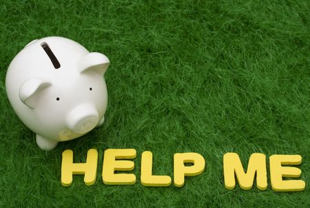 help me: Piggy bank with the words help me.  savings help