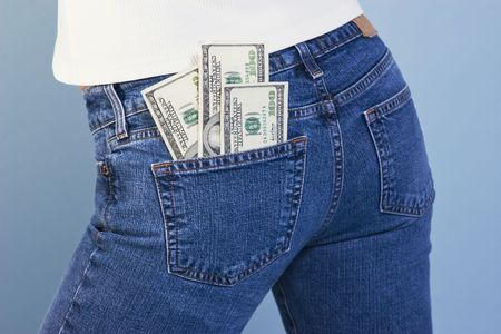 earns: Cash in back pocket of jeans � money in your pocket
