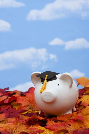 Piggy bank with a graduation cap the cost of education photo