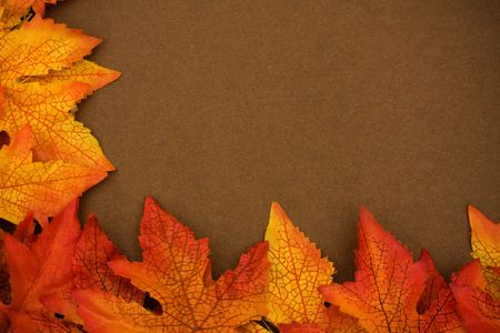 Fall leaves on brown background, fall border Stock Photo - 3466213