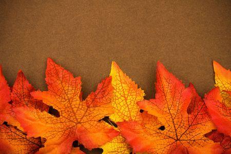 Fall bladeren op bruine achtergrond, vallen grens