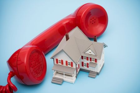 calling for help: Telephone with house - calling  for help