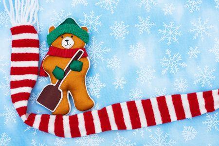 A winter themed bear on snowflake background, winter bear Stok Fotoğraf