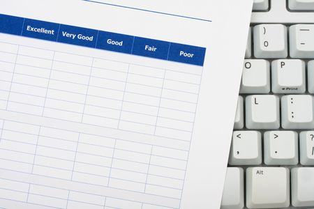 Close up of survey with computer keyboard, excellent customer service Stock Photo - 3545612