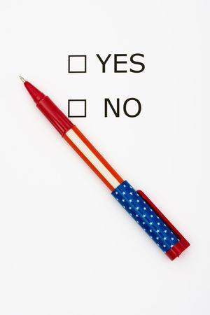 Paper with boxes with the words yes and no with a pen, voting Stock Photo - 3554947