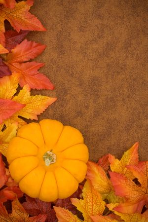 Fall leaves with orange gourd on brown background, fall border photo
