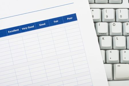 opinions: Close up of survey with computer keyboard, excellent customer service Stock Photo