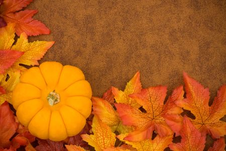 gourd: Fall leaves with orange gourd on brown background, fall border Stock Photo