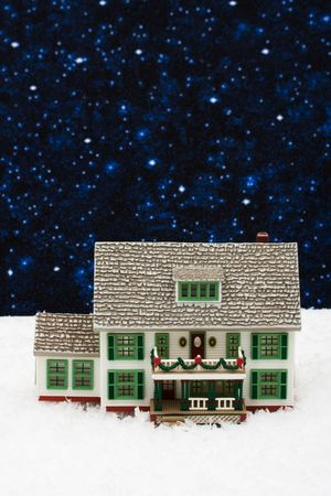House with Christmas decorations on snow with star , Christmas Eve Stock Photo - 3619409