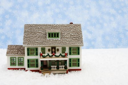 House with Christmas decorations on snow with snowflake background, Christmas Eve Stock Photo - 3698948