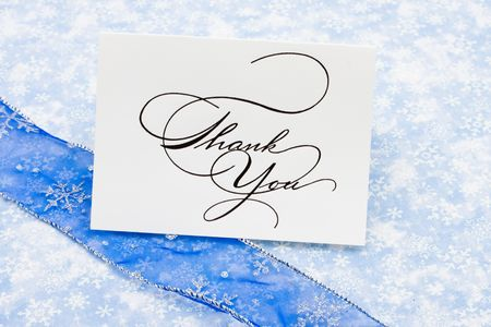 greet card: Thank you card with ribbon on blue snowflake background, thank you card