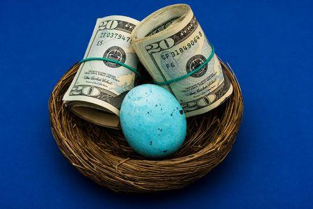 gniazdo jaj: Rolls dwudziestu Dolar rachunki posiedzenia w gniazdo z jaj na niebieskim tle, gniazdo jaj