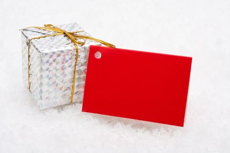A Christmas present sitting on snow with blank gift tag, Christmas presents Stock Photo - 3751961
