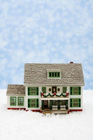 House with Christmas decorations on snow with snowflake background, Christmas Eve Stock Photo - 3851324