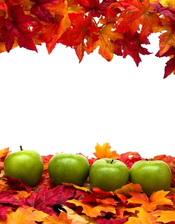 Fall leaves with green apples on white background, fall scene photo