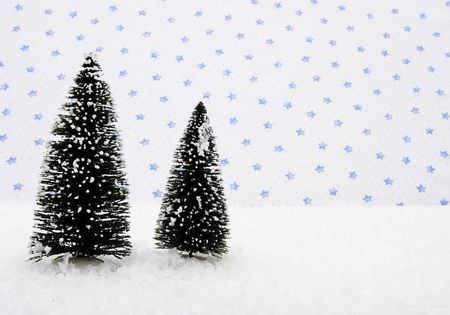 evergreen trees: Two evergreen trees on snow with star background, merry Christmas Stock Photo