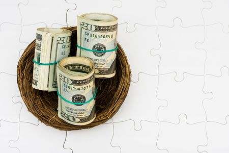 Rolls of twenty dollars bills sitting in nest on a puzzle background, safe retirement savings photo