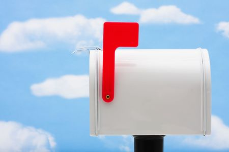 White mailbox with blue sky and cloud background, mailbox Reklamní fotografie