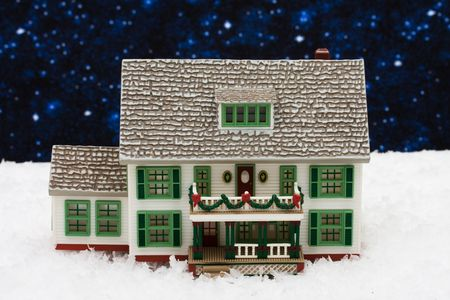 House with Christmas decorations on snow with star background, Christmas Eve Stock Photo - 3873939