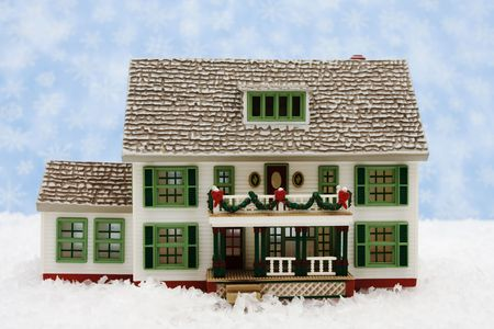 House with Christmas decorations on snow with snowflake background, Christmas Eve Stock Photo - 3894467