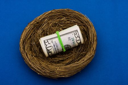 Roll of fifty dollar bills sitting in nest on blue background, nest egg photo