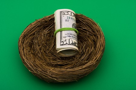 gniazdo jaj: Roll pięćdziesięciu Dolar rachunki posiedzenia w gniazdo na zielonym tle, gniazdo jaj