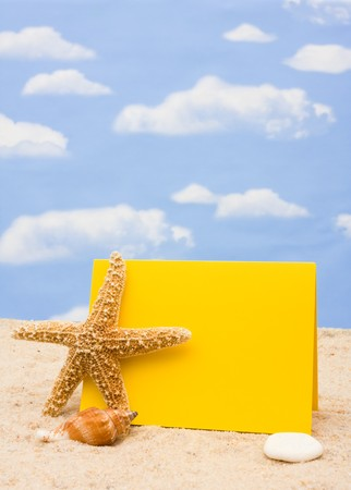 Starfish with a shell and blank card on sand and sky background, starfish border Stock Photo - 4527848