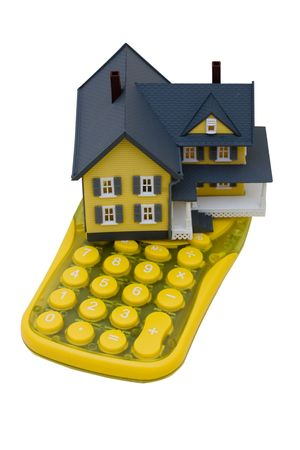 overwhite: A model house sitting with a calculator on a white background, mortgage calculator