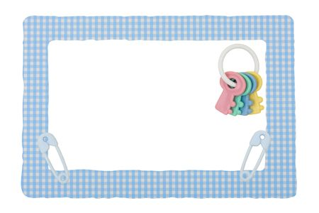 Blue patterned border with baby rattle and diaper pins, isolated on a white background, Blue Check border 스톡 콘텐츠