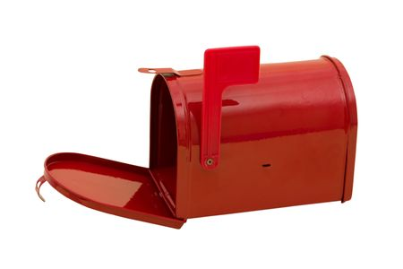 overwhite: Red mailbox with the flag up sitting on a white background, mailbox