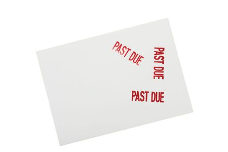 overwhite: White envelope with past due stamped on it isolated on a white background, past due bills