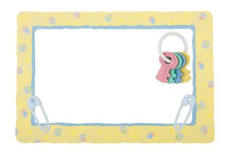 Yellow patterned border with baby rattle and diaper pins, isolated on a white background, yellow patterned border Stock Photo