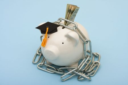 secure: A piggy bank wearing graduation hat with a metal chain on a blue background, High costs of education