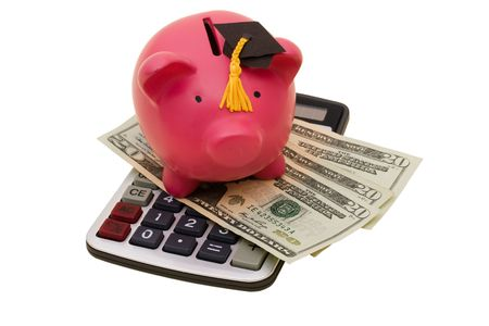 A piggy bank wearing a graduation cap with twenty dollar bills and calculator on a white background, increased education costs Stock Photo - 5026838