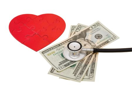 doctor money: A stethoscope with a red shiny heart and cash isolated on white background, heart health Stock Photo