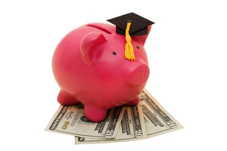 increased: A piggy bank wearing a graduation cap with twenty dollar bills on a white background, increased education costs