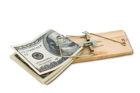 taking risks: A mouse trap with one hundred dollar bills isolated on a white background, taking risks with your money