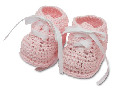 Pink booties isolated on a white background, booties