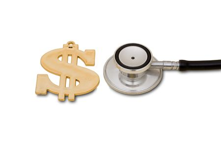 healthcare costs: A gold dollar symbol and a stethoscope isolated on a white background, Healthcare Costs
