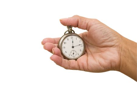 Stopwatch in hand isolated on a white background Stock Photo