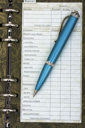 sheet: A one hundred dollar bill with pen and budget sheet , budgeting your personal finances