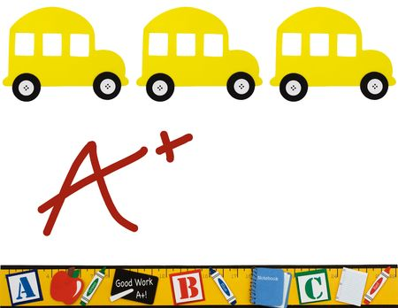 excellent: School buses and ruler isolated on a white background, School background Stock Photo