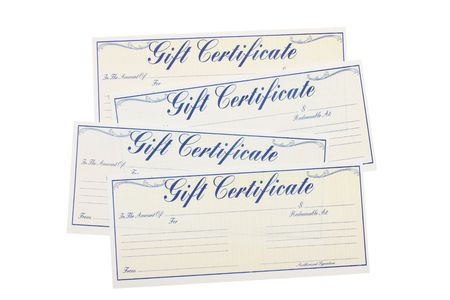 Four gift certificates isolated on a white background, gift certificate