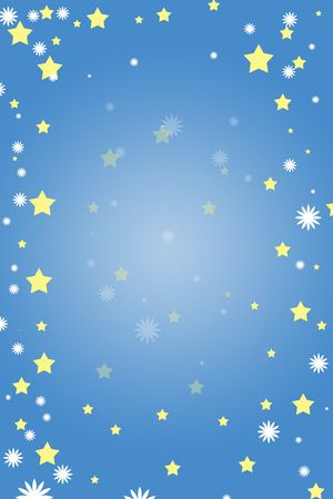 night time: Stars and snowflakes on a blue night background, night time background